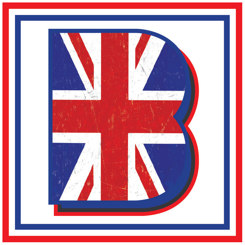 A History of British Blues - A graphic image of the letter B with the Union Jack printed on it. A red and blue square border surrounds the image.