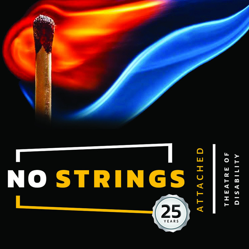 """Ignition Point - A lit match with red and blue flame on a black background. A white and yellow logo for """"No Strings Attached, theatre of disability"""" is below the match."""