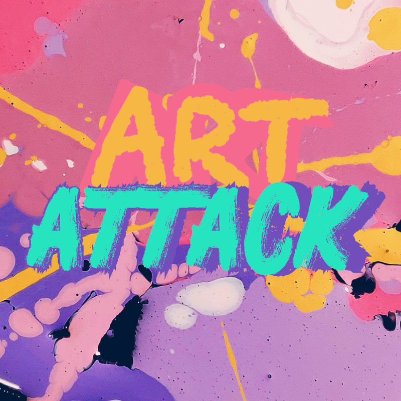 A graphically illustrated logo image with text that reads 'Art Attack' in yellow and blue font on a multi-coloured paint splotched background.