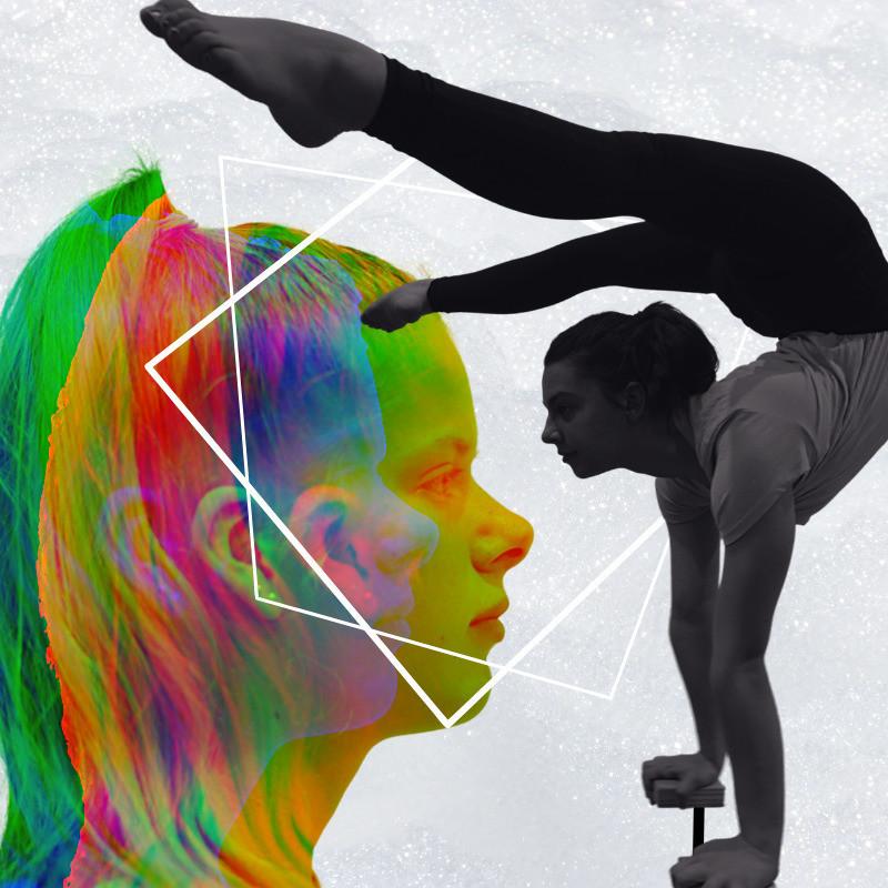 BREATHE - The image has a side profile headshot of a girl with her tied in a ponytail in rainbow technicolour to the left of the image. An acrobat doing a handstand with their legs bent over their head features to the right of the image in black and white.