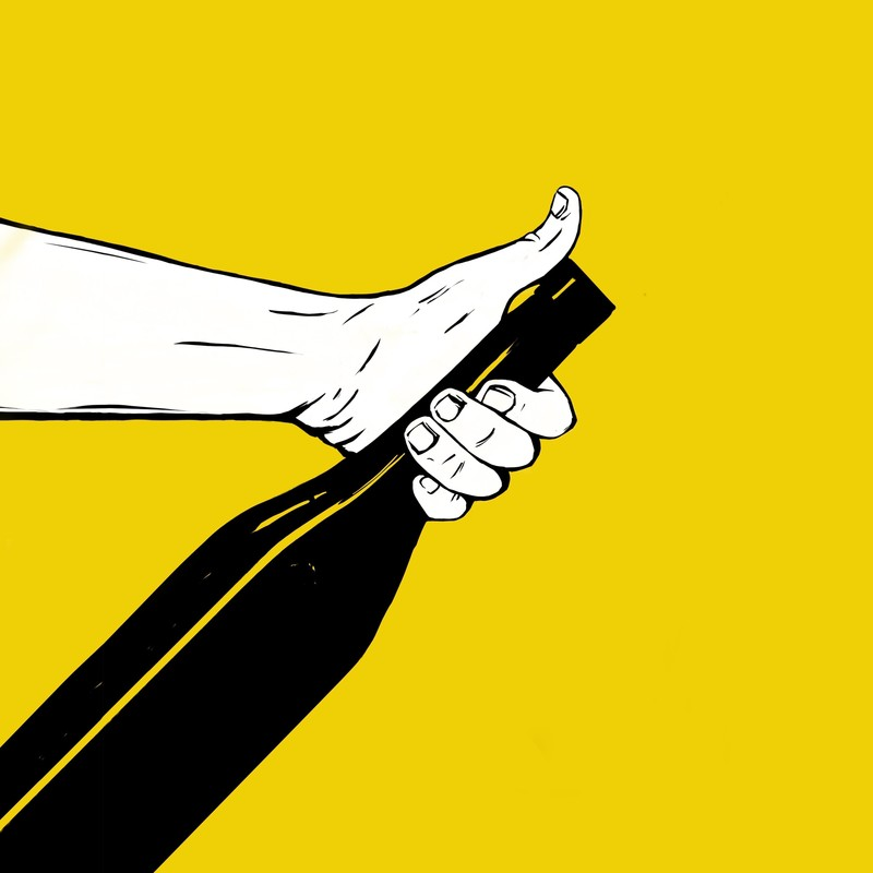 How To Drink Wine Like A Wanker - A drawing of a white arm extending across a yellow background holding a black bottle on an angle.