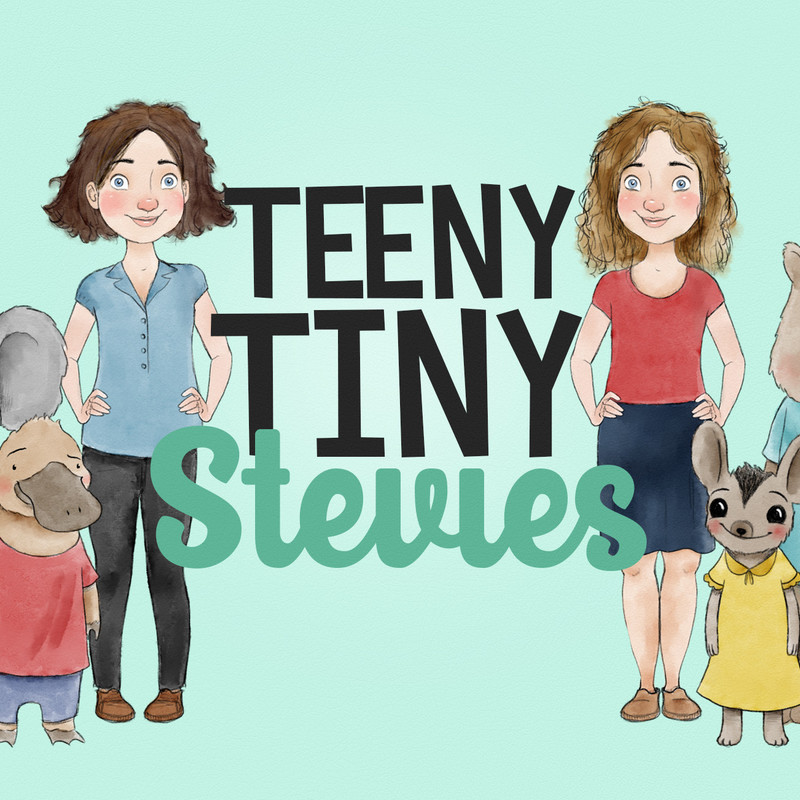 A graphic illustration of two people. One person with short brown hair wearing a blue shirt and black jeans and the other with blonde hair wearing a red t-shirt and blue skirt. There is a brown platypus wearing a red t-shirt and blue shorts and another small animal with big ears wearing a yellow dress. In between the two people the text reads, 'Teeny Tiny' in black capital letters and 'Stevies' in teal calligraphy font.