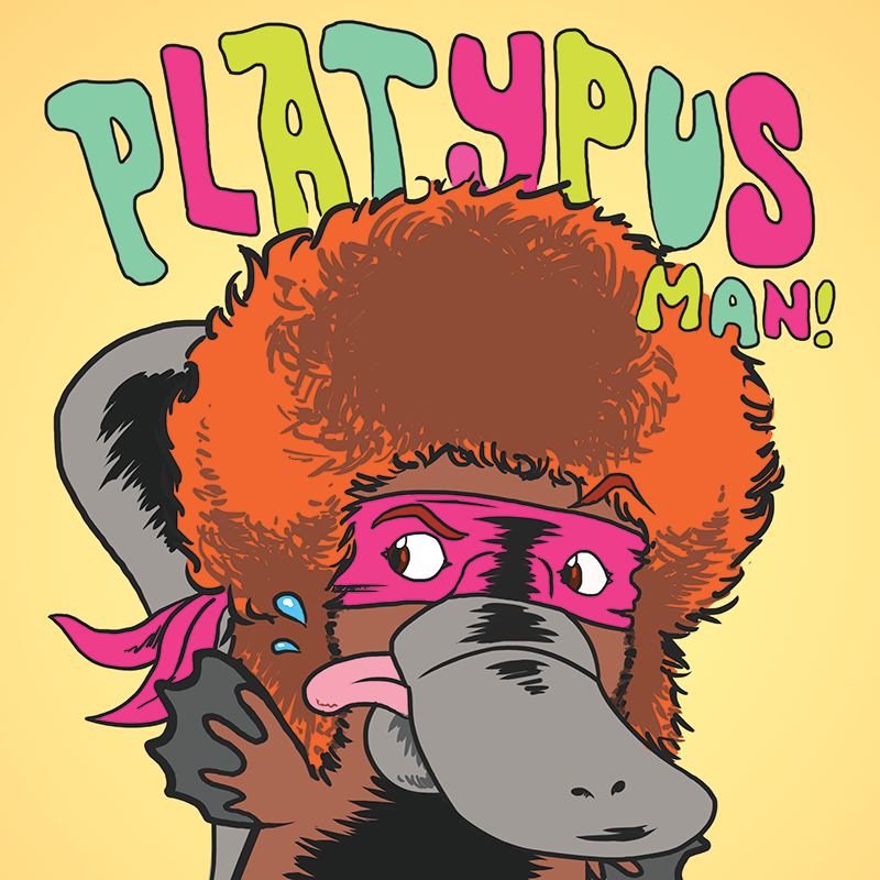Scaled platypus man crop print