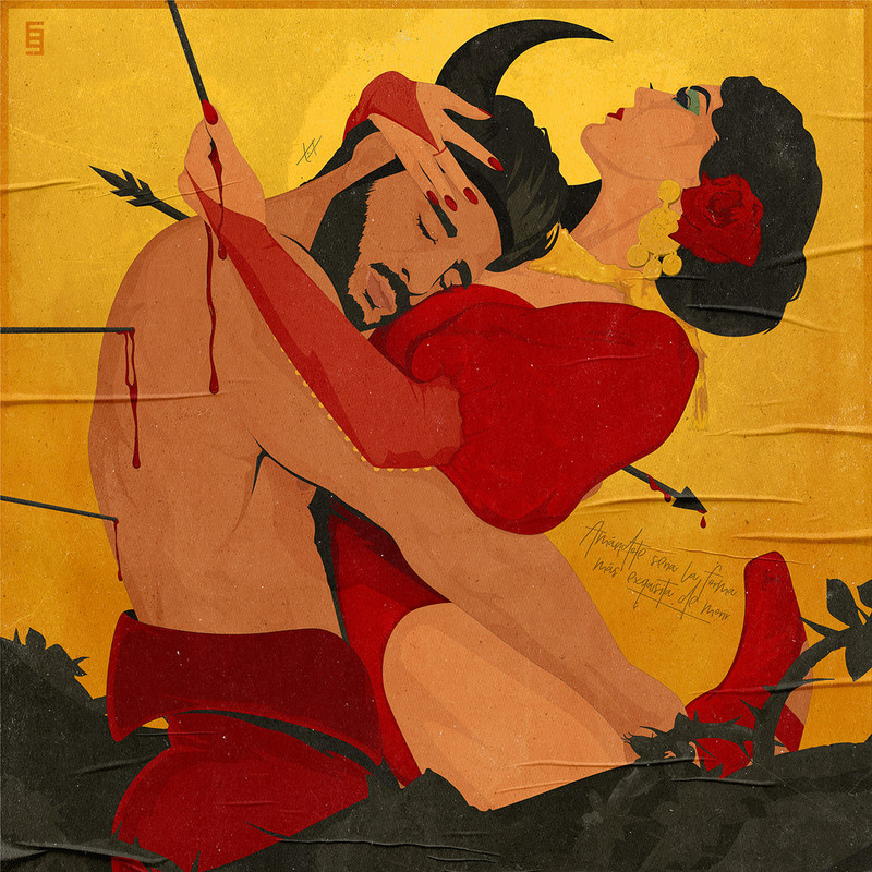 An illustration of a man and a woman embracing each other. The man has his head resting on the woman's chest and he has arrows stabbed into his back.