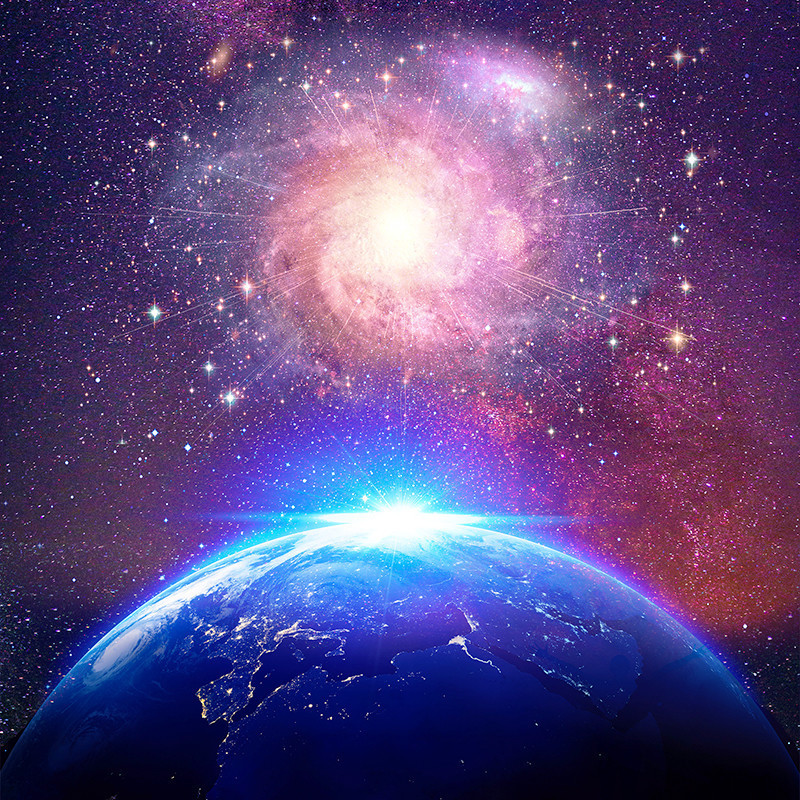 StellarSphere - Full Dome Sound Bath Experience - An image of outer space, with a pink and purple coloured galaxy above half of planet Earth on the bottom of the image. A bright light is in the centre of the image.