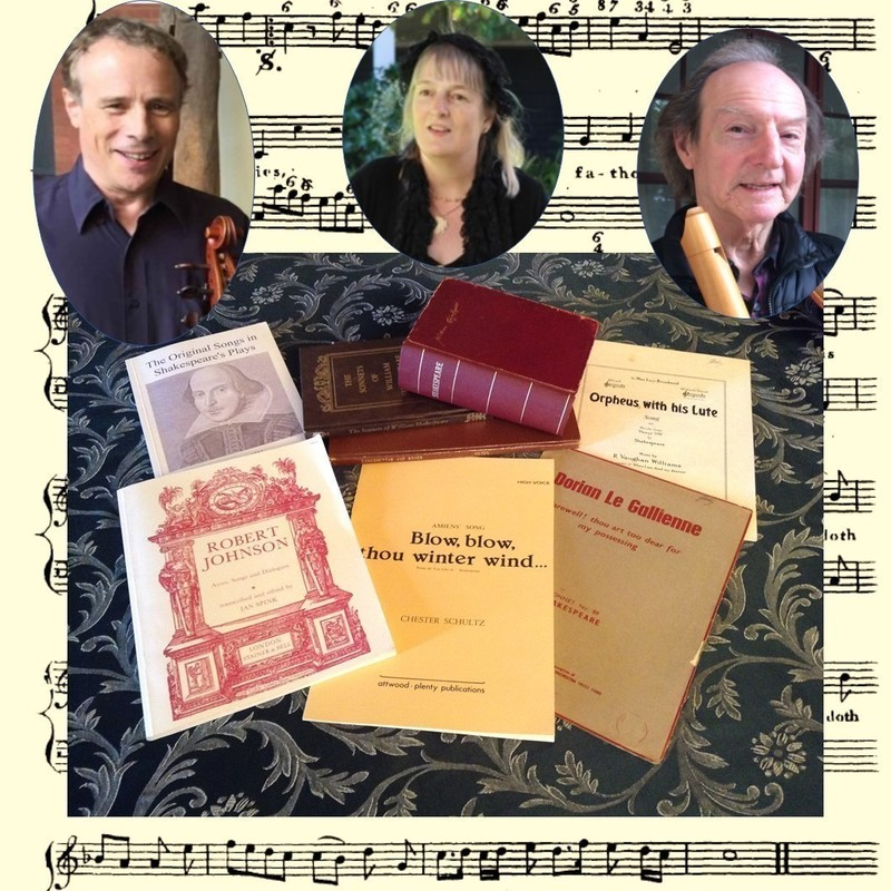 Shakespeare Now and Then - An image that features a selection of books and papers of music associated with Shakespeare and three photos of people with a background that is a sheet of music.