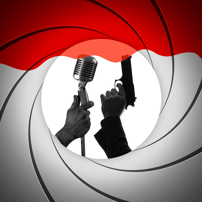 Shaken and Stirred, Bond Meets Sinatra and Friends - An image of a hand holding a microphone and a hand holding a black gun. The background features a red and grey swirling design.