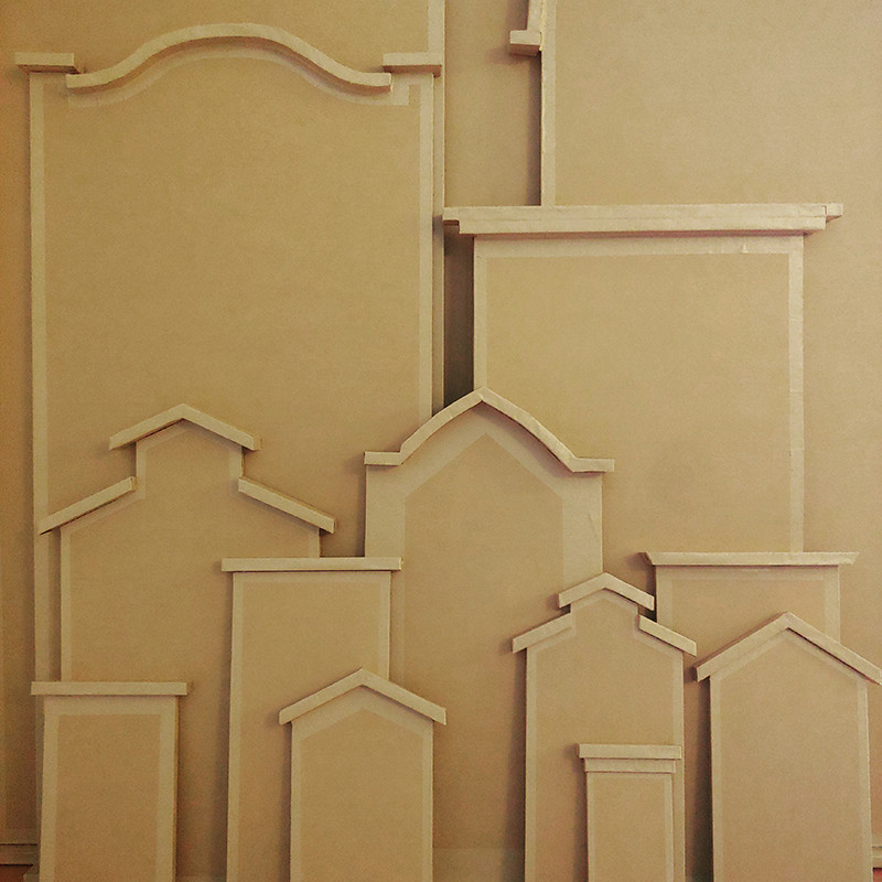 The Burning of Vision - An image of a cardboard model that depicts Baroque architecture buildings.