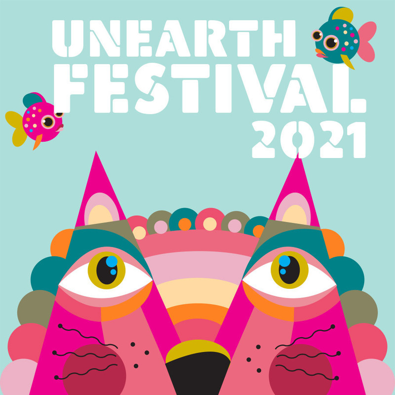 uneARTh Festival - A colorful, graphic, cartoon image of a cat on a light blue background. The Words Uneath Festival headline the image.