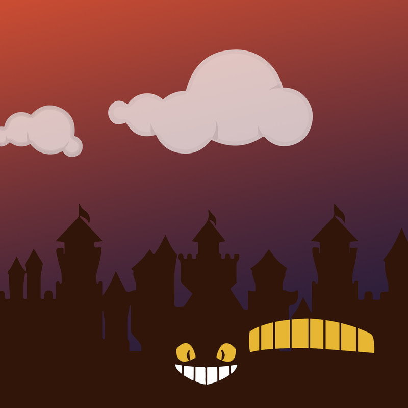 AWO presents Joysticks & Journeys - A graphic image of orange and purple setting sky with two white clouds. The bottom of the image has an outline of a black castle with two yellow eyes and a grinning mouth in the corner.