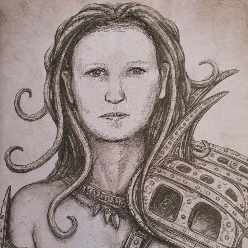Myths, Legends and Fantasy - A pencil drawing of a mythical looking person by Emerson Ward.