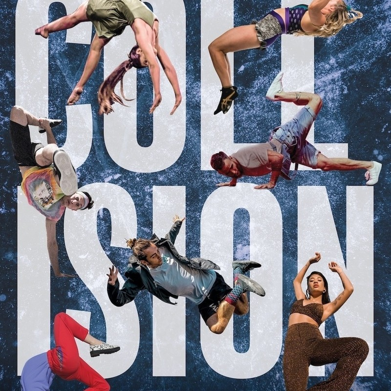Collision - An image of seven people performing different dance moves with the word 'Collision' written on the background in white font upon two rows.