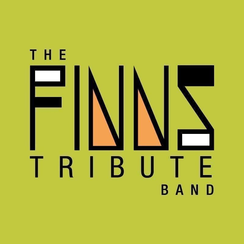 A logo image that reads 'The Finns Tribute Band' in black font with a lime green background.