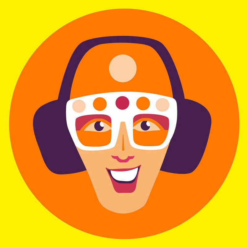 A bright graphic illustration of a person smiling while wearing white glasses, and purple headphones around their ears.