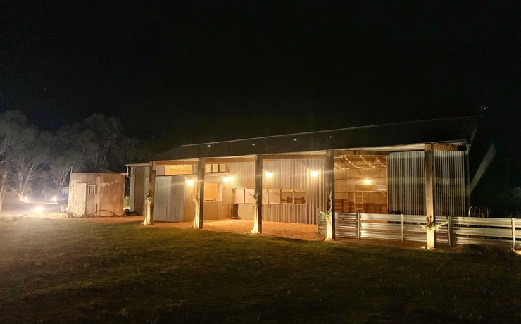 User crop shed night from lawn